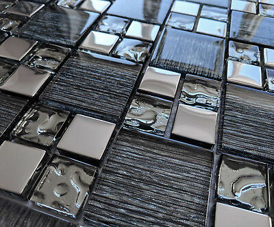 New Black Glass Foil & Silver Chrome Metal Square Mosaic Wall Tiles Grey 8mm • 8.98£
