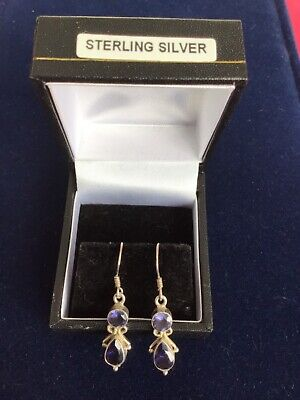STERLING SILVER AMETHYST EARRINGS —- BNWT —— Boxed • 12£