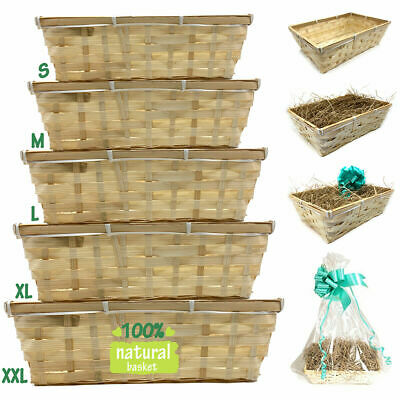 DIY Make Your Own Hamper Wicker Gift Basket Box Kit With Shred+Cellophane+Bow  • 8.49£