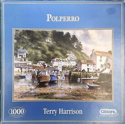 1000 Piece - Polperro Harbour - Boats Seaside Town -terry Harrison - Puzzle • 8£