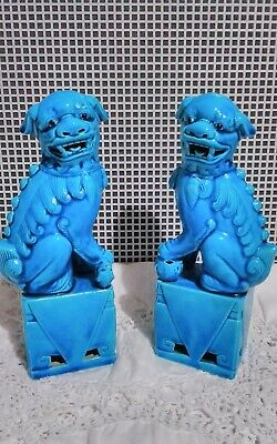 Vintage Chinese Foo Dogs. Pair Of.Turquoise. Ceramic.  21cm Tall. • 120£