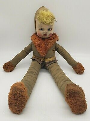 $39.50 • Buy Vintage Wwi Wwii Cloth Doll Military Soldier Hand Painted Formed Face 16