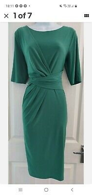 Womens Anthology Dress Size 12 Green Pencil Ruched Waist Party Occasion Work Vgc • 11£