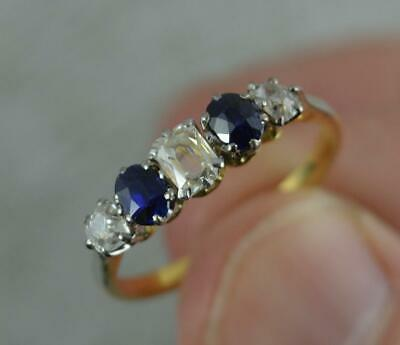 Edwardian 18 Carat Gold 0.5ct Old Cut Diamond & Sapphire Stack Band Ring D0415 • 575£