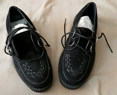 Black Synthetic Suede Brothel Creepers Crepes Shoes Size 5 New Punk Rock N Roll • 14.99£