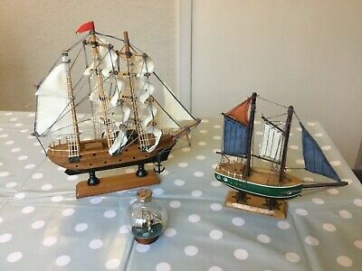 Job Lot Of 3 Small Wooden Ship Model With Fabric Sails.  On Plinth. In Bottle • 7.99£