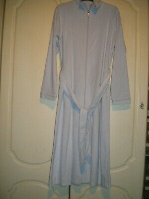 M&s Dressing Gown / Robe Size 8-10 Light Blue Velour Zip Front 80% Cotton Bnwt • 17.99£