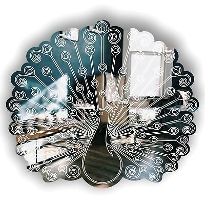 35cm Peacock Displaying Fan Tail Feathers Engraved Acrylic Mirror • 19.89£