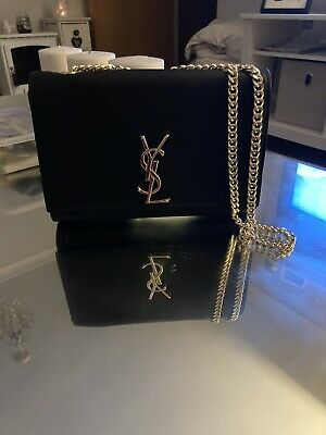 YSL Style Black Bag With Gold Chain Strap • 75£