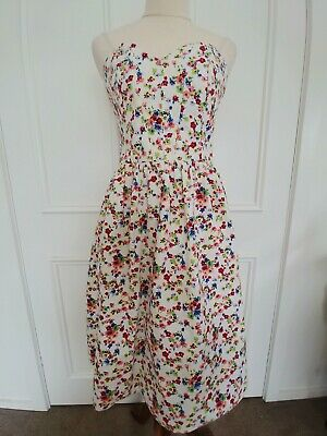 AU35 • Buy Asos Strapless Size 14 Fit And Flare Floral Dress. Fitted Bodice. Fully Lined.