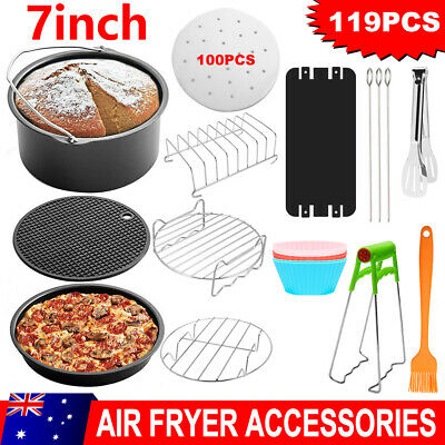 AU28.95 • Buy 119PCS Air Fryer Accessories 7inch Rack Cake Pizza Oven Barbecue Frying Pan Tray