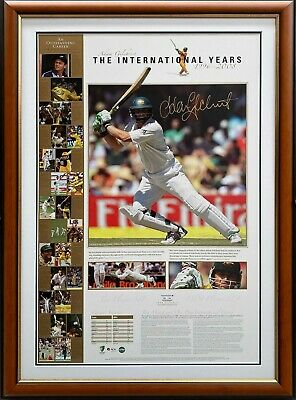 AU399 • Buy Adam Gilchrist Hand Signed Australia Cricket Print Framed Limited With COA