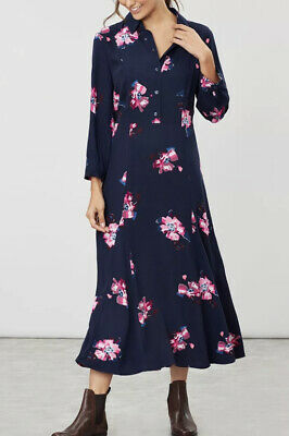 Joules Womens Carla Long Sleeve Shirt Dress - Navy Spaced Floral -RRP £79.99 • 29.99£