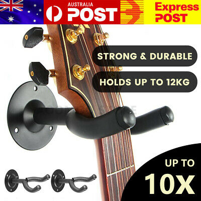 AU11.45 • Buy 2x Guitar Wall Mount Hanger Padded Holder Hook Keeper Bass Ukulele Banjos