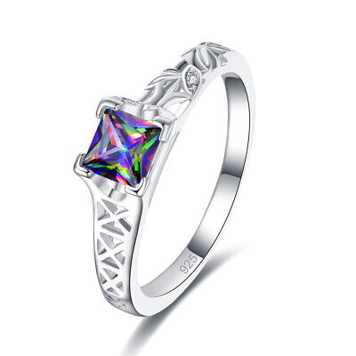 Ladies 925 Sterling Silver Ring Hollow Carved Square Rainbow Topaz Ring Set New • 4.16£