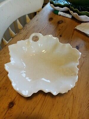 £10 • Buy Vintage White Majolica Cabbage/Leaf Dish Bowl CHIPPED