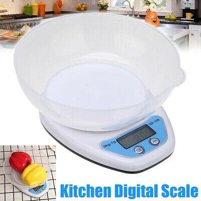 5kg Digital Kitchen Scales LCD Electronic Cooking Food Measuring Bowl Scale • 6.99£