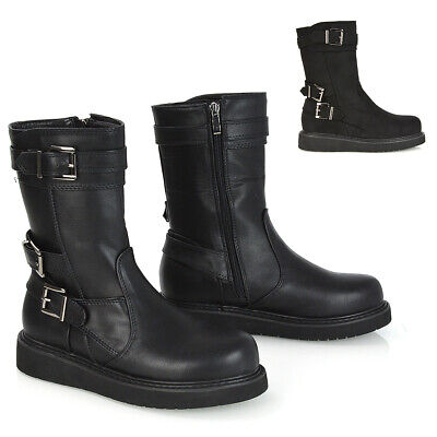 £29.99 • Buy Womens Flat Mid Calf Ankle Boots Ladies Low Platform Zip Up Flatforms Size 3-8