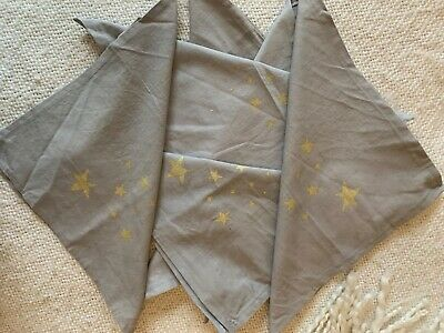 6 Grey Linen Blend Table Napkins Copper Star Christmas Wedding • 12£