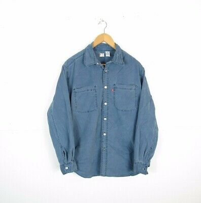 Mens LEVI'S Pale Blue Metal Western Button Corduroy Over Shirt Size Small • 9.99£