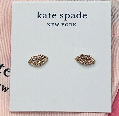 $ CDN52.35 • Buy NWT Kate Spade Lips Earrings Studs Pave Pink Stones Pucker Up Glitter Sparkle