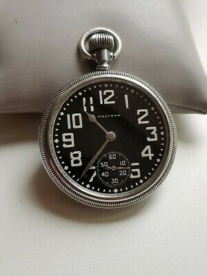 Ww2 British Military Navy Issue Waltham Pocket Watch Coin Edge Screw Down Back • 185£