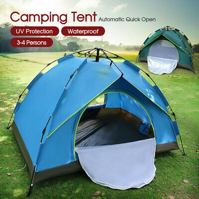 AU43.99 • Buy Double Layer Waterproof Automatic Quick Open Camping Outdoor Tent 3-4 Persons