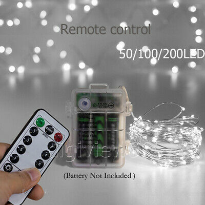 Bright White LED Battery Fairy String Lights Xmas Party Outdoor Remote Control • 7.82£