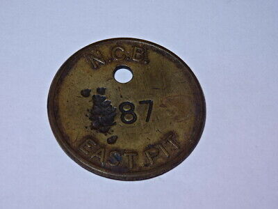 Rare Welsh Brass Miners Lamp Colliery Check Pit Tally Token - NCB EAST PIT 87 • 185£