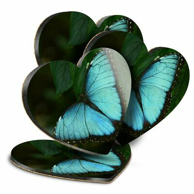 4x Heart MDF Coasters - Blue Morpho Butterfly Insect  #3485 • 9.99£