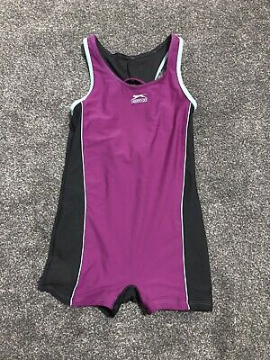 GIRLS SLAZENGER SWIMSUIT SHORT-SUIT PINK & GREY AGE 13 Years • 0.99£