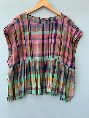 $ CDN39.74 • Buy Anthropologie Top Small Holding Horses Plaid Mina Tank Rainbow Blue Pink Shirt