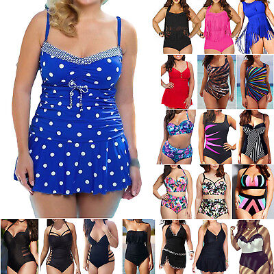 Women Plus Size Swimwear Monokini Bikini Tankini Set Bathing Swimsuit Beachwear • 10.99£