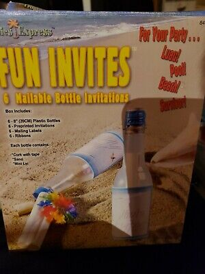 6 Invitations In A Bottle Invites Luau Hawaii Tropical Beach Birthday Party • 9.19£
