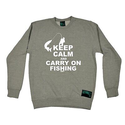 Fishing Sweatshirt Funny Novelty Jumper Top - Keep Calm And Carry On Fishing • 14.97£