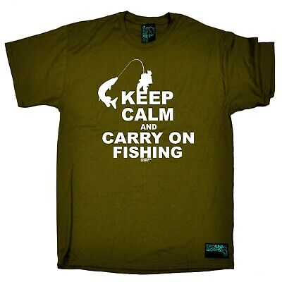 Fishing T-Shirt Funny Novelty Mens Tee TShirt - Keep Calm And Carry On Fishing • 8.94£