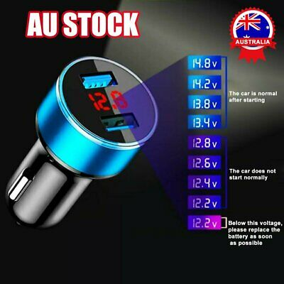 AU9.96 • Buy Dual USB Car Charger Adapter 2 Port Display Dual Cigarette Socket Lighter 12-24v