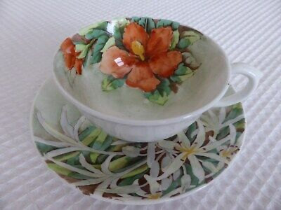£5.99 • Buy Vintage Crown Staffordshire  Red Hibiscus  Cup & Saucer Exc. Cond.