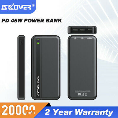 Laptop External Battery Power Bank PD 3.0 USB-C 45W Fast Charger Tablet 20000mAh • 43.99£