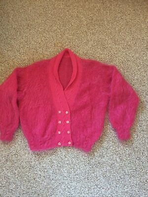 """Womens Hand Knitted Pink Cardigan Chest 44"""" • 10£"""