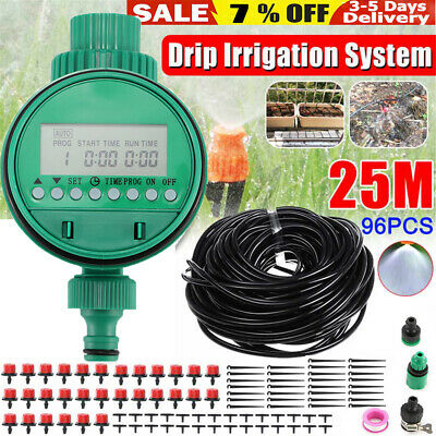 25M Automatic Drip Irrigation System Plant Timer Self Watering Garden Hose Kit • 13.98£