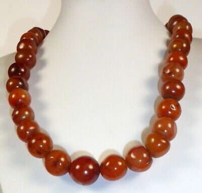 £225 • Buy Fine Quality Carnelian Agate Bead Necklace 100 + Years Old From Tibet