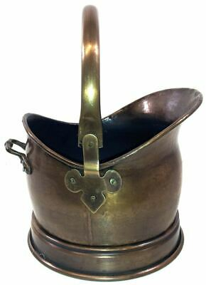 Small Fireside Antique Finish Helmet Coal Scuttle Bucket Or Fire Hod • 29.99£