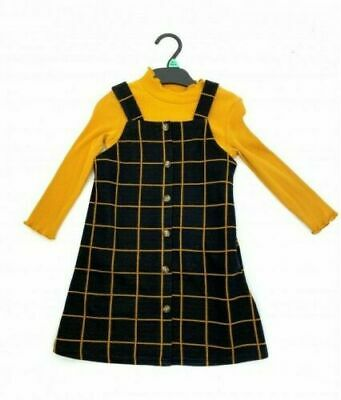 Ex F&F Girls Pinafore Dress Pinny 2 Piece Mustard Check Kids Top Winter Outfit • 12.49£