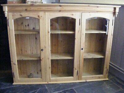 Used Glass Fronted Pine Wall Cupboard / Dresser Top • 60£