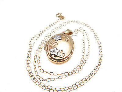 9ct Gold Opening Oval Engraved Locket Pendant & 18 Inch Chain • 50£