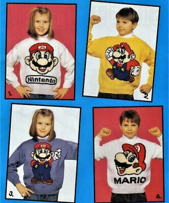 £1.89 • Buy Childrens Boys Girls Super Mario Jumpers Double Knit Knitting Pattern 663