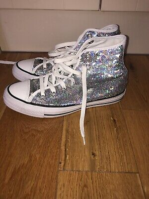 Silver Sequin Converse, UK Size 5, Immaculate As Worn Twice • 29.99£