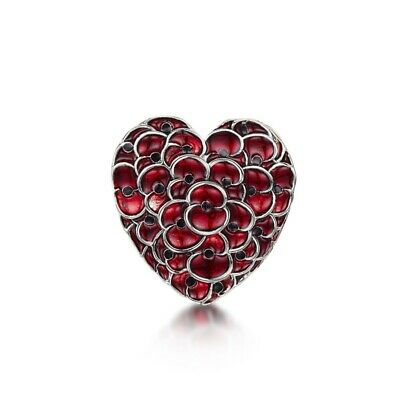 £7.99 • Buy Poppyheart Brooch White Gold Badge - Lest We Forget - Charity: Help For Heroes