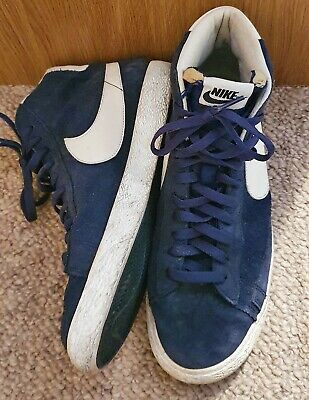 Nike High Top Blazers Trainers Size UK 8 Uncommon Navy Paisley Pattern • 8.50£